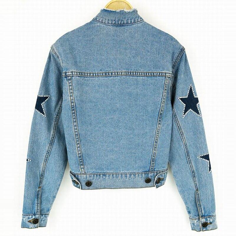 Manteau Veste Jeans Étoiles Nouveau Perle Clair Printemps Ciel Femmes Bleu Impression Tout Avec Vintage allumette Abrigos Bomber Pu Denim kZPXiOuT