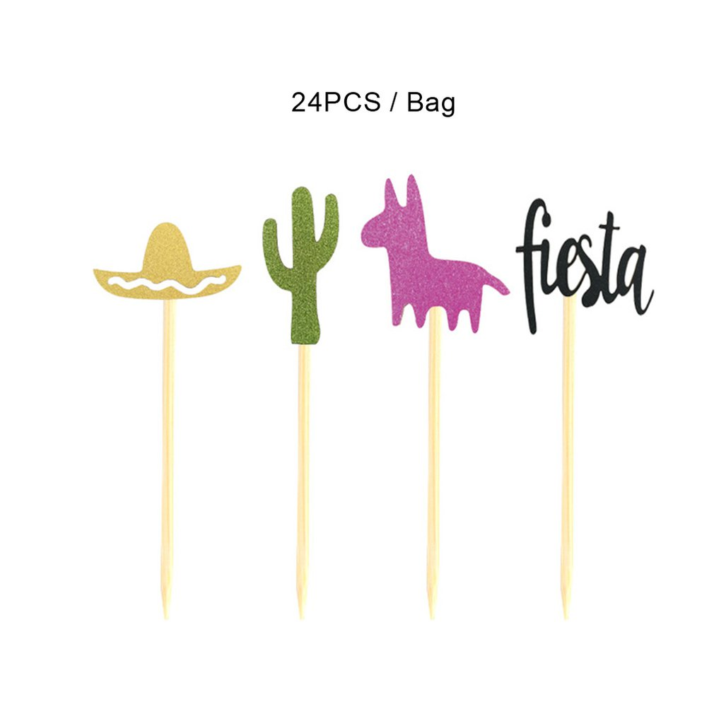 24/Pack Of Mexican Carnival Theme Party Decorating Cake Insert Cactus Alpaca Fiesta Hat