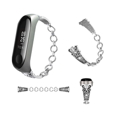 AKGLEADER For Xiaomi Mi 3 Band Metal Crystal Diamond Wrist Strap Bracelet Watchbands Womens