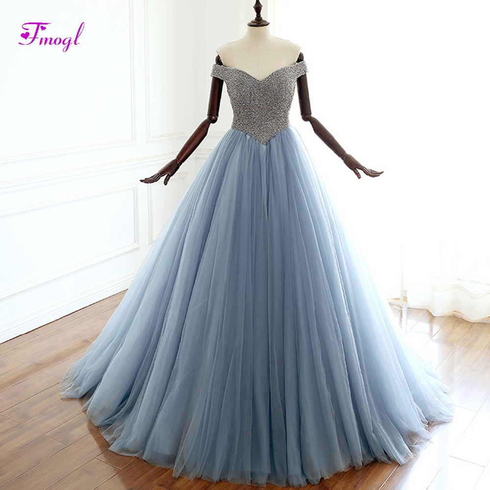 Fmogl New Arrival Luxury Beaded A-Line Long   Evening     Dresses   2019 Sexy Sweetheat Neck Prom   Dress   Formal Party Gown Robe De Soiree