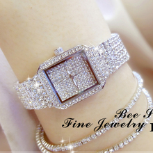 2019 חדש גבירותיי קריסטל שעון נשים ריינסטון שעונים ליידי יהלומי אבן שמלת שעון נירוסטה צמיד שעוני יד