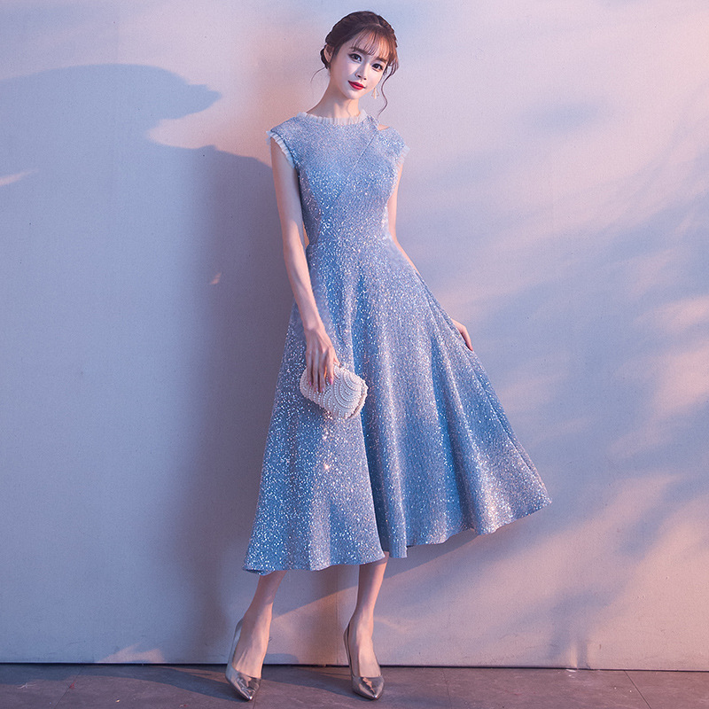 Blue Sequins Chinese Oriental Wedding Women Sexy Cheongsam V-neck Evening Dress Elegant Princess Dresses Modern Qipao
