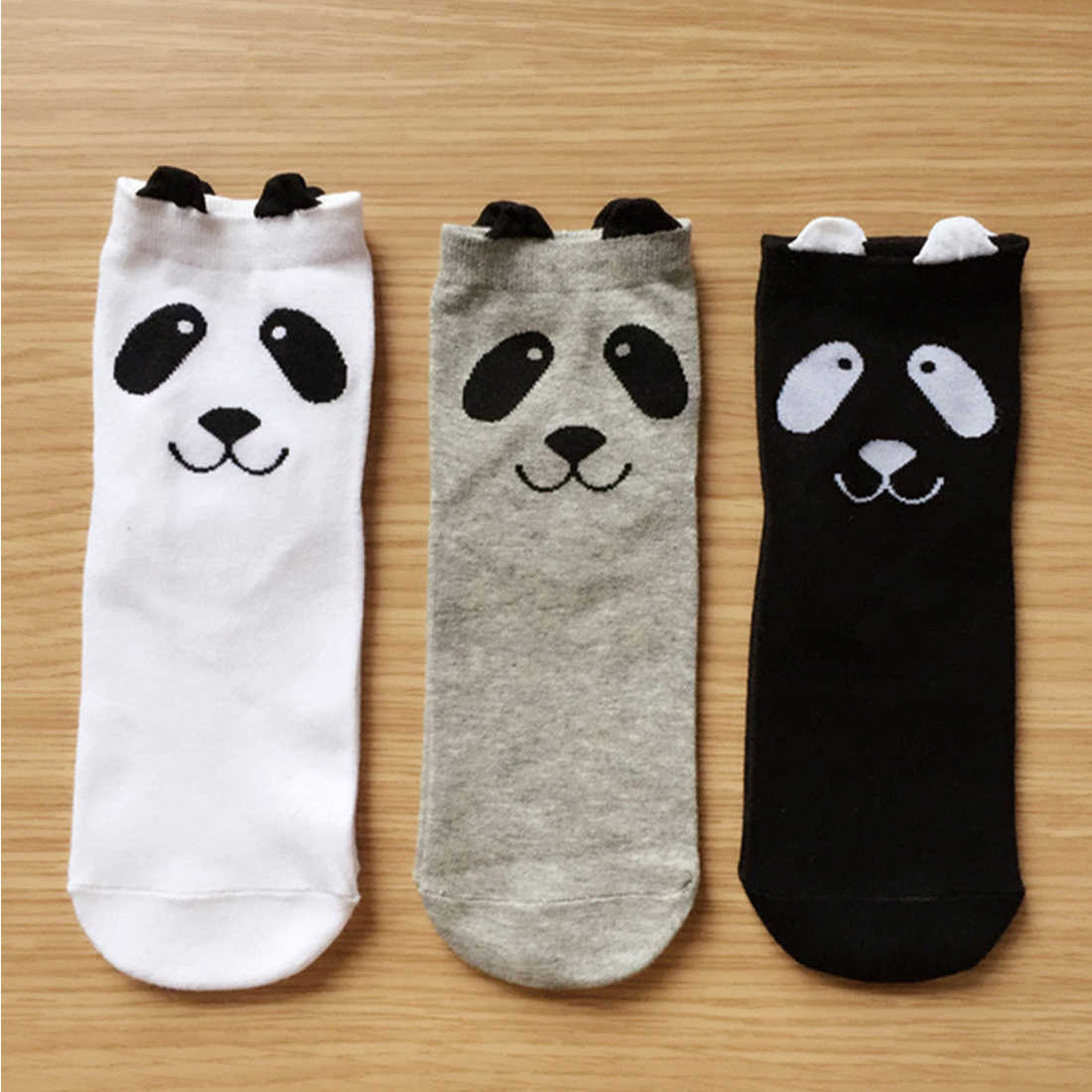 Warm Socks Women All-Match Cotton Panda Cartoon Comfortable Simple Black And White Gray Bar With Casual Female Socks