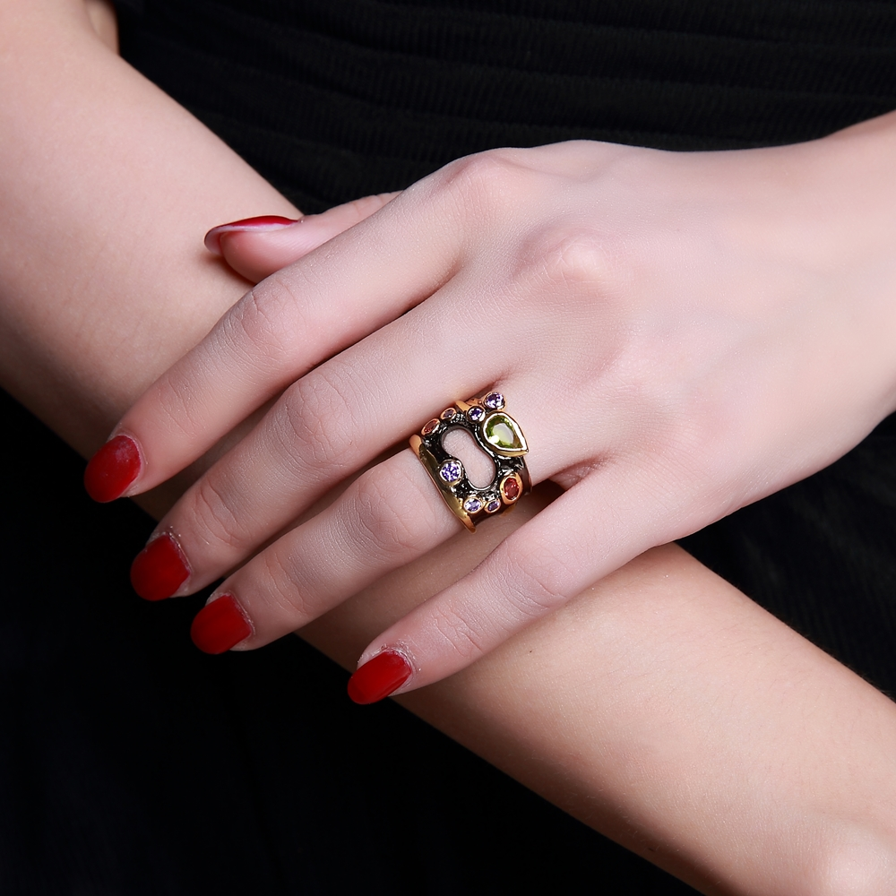 DreamCarnival1989 Olivine Red Purple Color CZ Rings for Women Neo ...