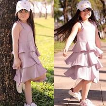 цены на kids dresses for girls summer Cotton Sleeveless Solid Ruffles Backless Dress Layered Dresses F401  в интернет-магазинах