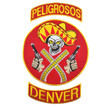 Motorcycle Iron Patch Peligrosos Denver Red Cowboy With Gun Club Vest Outlaw Biker Mc Jacket Punk Large Back Iron On West Patch