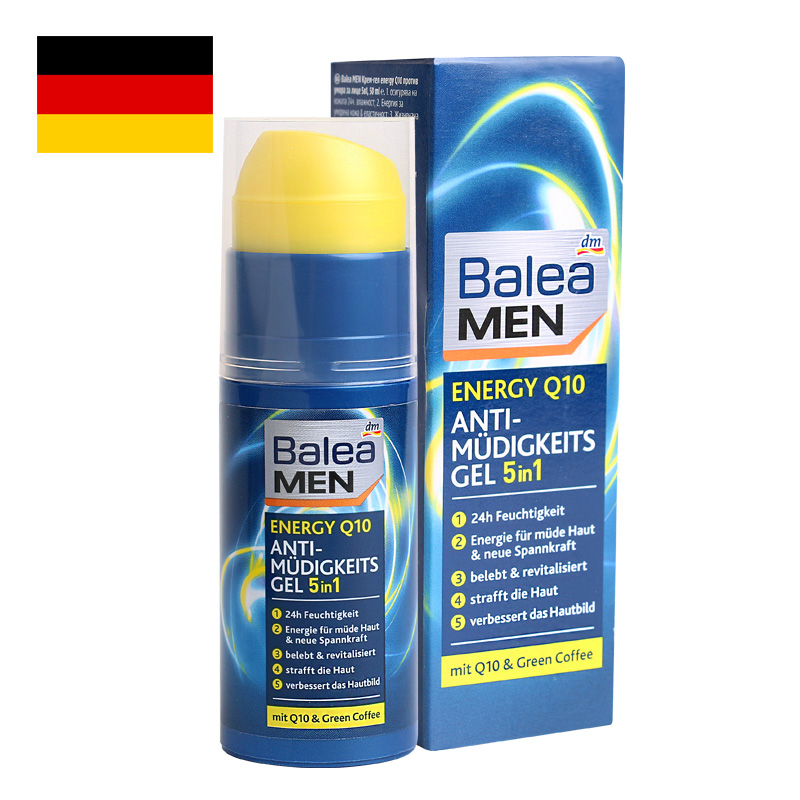 Germany Balea Q10 Energy Day Face Cream Anti-fatigue Gel for Men Tired Stressed Skin Improve Elasticity 24H Moisturizing