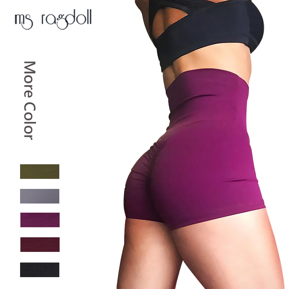 2019 Hot Solid Women Fitness Shorts Ladies Yoga Trouser Tight High Waist Quick-drying Seamless Sport Clothes Running Gym