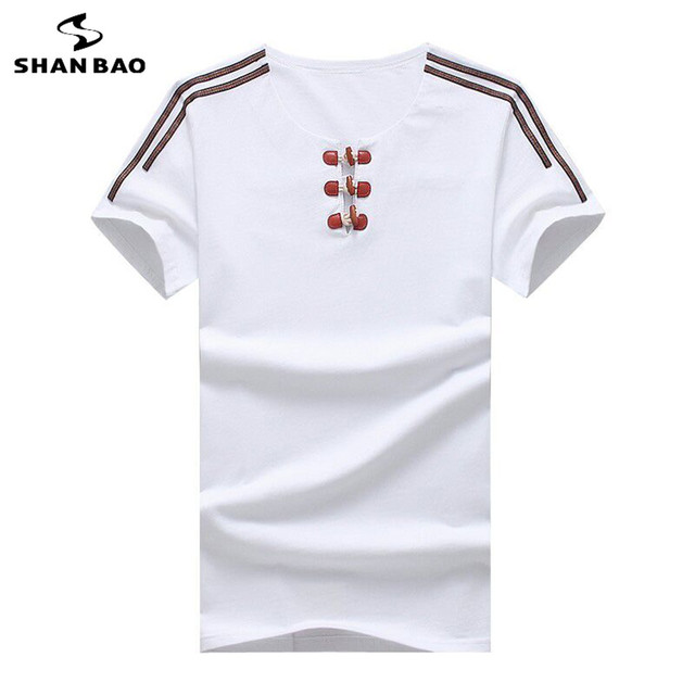 SHAN BAO Brand summer fashion leather buckle strap T-shirt men's high quality cotton stretch short-sleeved t-shirt big size