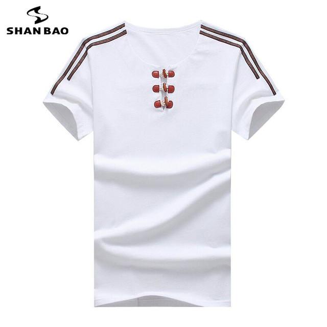 SHAN BAO Marca verão T-shirt dos homens da correia de couro fivela de moda de alta qualidade do algodão do estiramento curto-manga comprida t-shirt grande tamanho