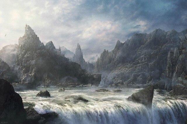 Diy Rahmen Kunst Gemälde Fantasie Landschaften Berge Nebel Schloss