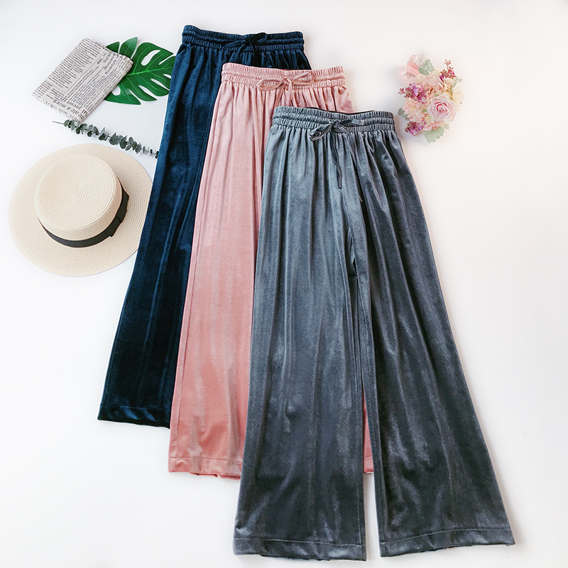 Velvet wide leg   pants   women straight pantalon elastic waist trousers casual bottoms loose high waist   capris   VELOUR Palazzo   Pants