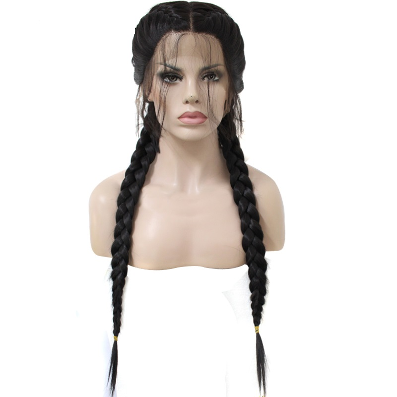 Marquesha Realistic Looking Long Heat Resistant Fiber Synthetic Lace Front Braided Wigs