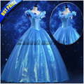 New Princess Cinderella cosplay costume adult blue deluxe cinderella girl wedding dress Custom made