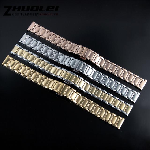 Senhora Pulseira de Alta qualidade 14mm 16mm prata ouro rose gold butterfly fivela pulseira de aço inoxidável para moto 360 2nd gen cinta