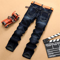 Free shipping NEW Autumn and winter men's denim jeans, straight pants jeans men in dark blue high quality Stretch men's jeans