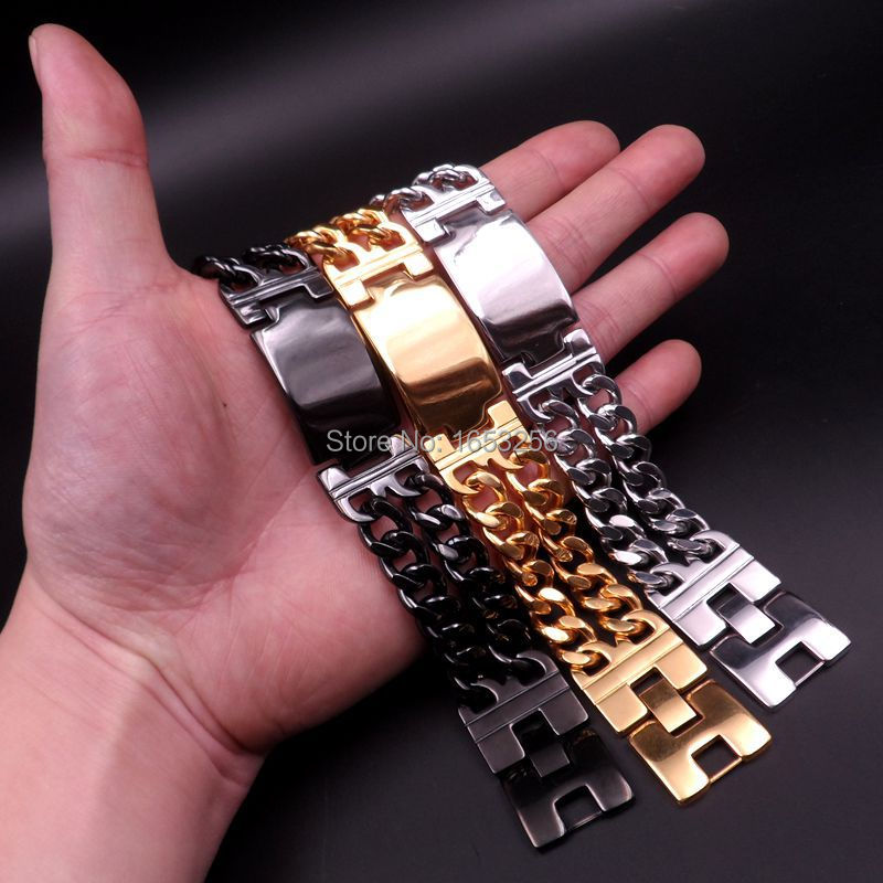 Silver/ Gold/ Black Heavy Cool 316L Stainless Steel Mens Shiny ID Bangle Smooth Double WIDE Curb Chain Bracelet 22MM 8.66