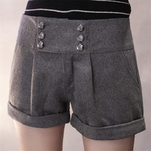 ФОТО visnxgi 2018 style design shorts women short trouses winter thick fashion girl woolen warm woman fold plus size clothing buttons