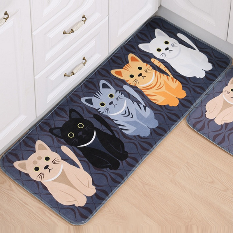 Fashion Floor Mats Cartoon Cushion Cat Printed Carpets Doormats For Kitchen  Bathroom Living Room Anti
