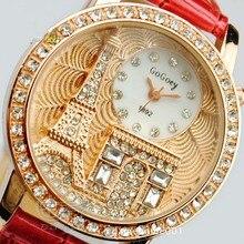 Marca gogoey mulheres rhinestone relógios de luxo de cristal da torre eiffel assista mulheres senhoras vestido da forma de quartzo relógios de pulso