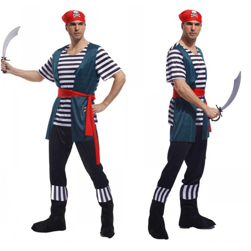 2019 Latest Design Men Buccaneer Corsair Pirate Cosplay Halloween Sailor Role Play Costumes Festival Parade Rave Party Stage Show Performance Dress At Any Cost