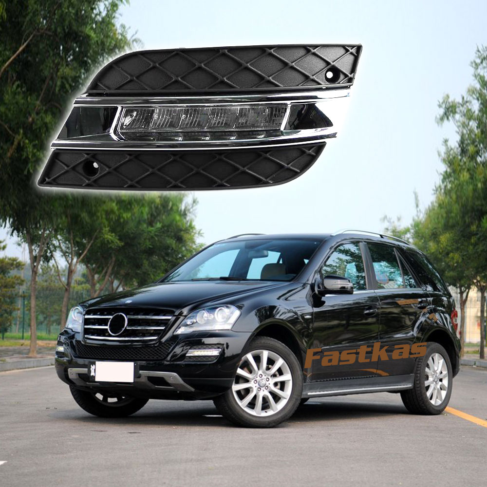 12v DRL Daytime Running Lights for Mercedes Benz W164 ML280 ML300 ML320 ML350 ML500 2010 2011 Chrome LED Daylight Waterproof door mirror turn signal light for mercedes benz w163 ml270 ml230 ml320 ml400 ml350 ml500 ml430 ml55