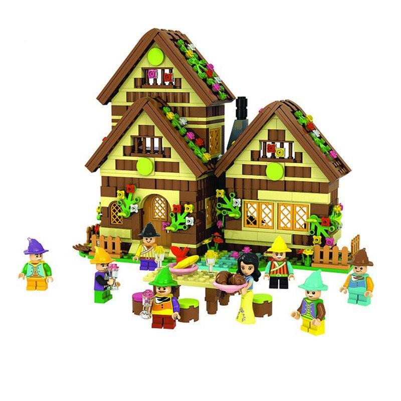 Bricolage blanche neige et les sept nains forêt bois maison bloc de construction jouets pour enfants Compatible avec L marque amis