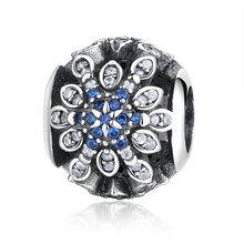 Classic Original 100% 925 Sterling Silver Blue Crystals Charm Fit pandora Bracelet For Woman Wedding Gift DIY Jewelry Making