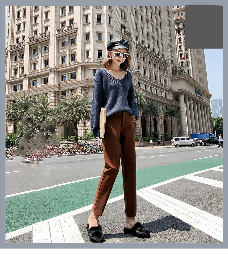 19 Autumn New Women Elastic Woolen Pant Female Plus Size Casual Trousers Black/Gray Harem Pants Winter Wool Ankle-Length Pants 8