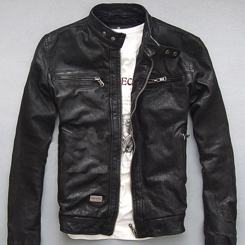 New Men Winter Genuine Leather Jacket For Men Motorcycle Flight Pilot Bomber Jacket Natural Real Leather Innrech Market.com