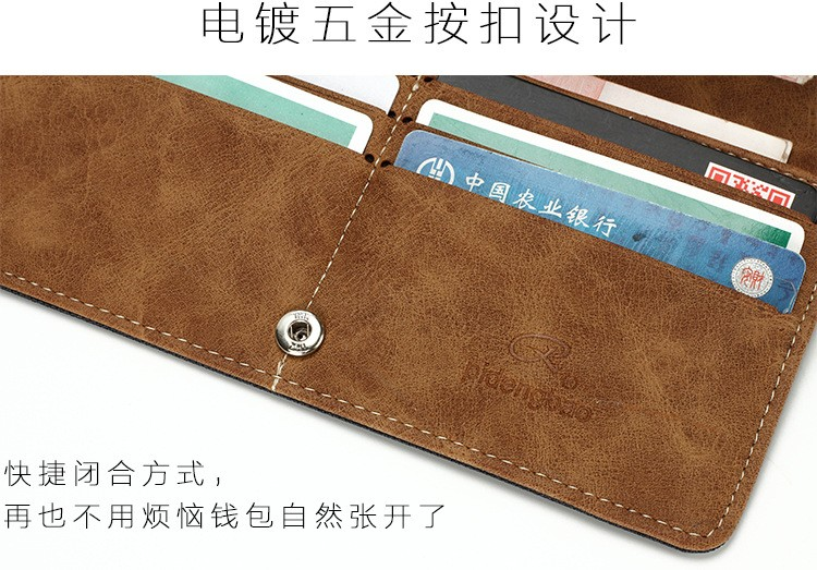 Canvas Denim Men's Long Wallet Fashion Casual Business Male Student Jean Fabric Money Purse With Card Holder Wallets 2 Fold (10)