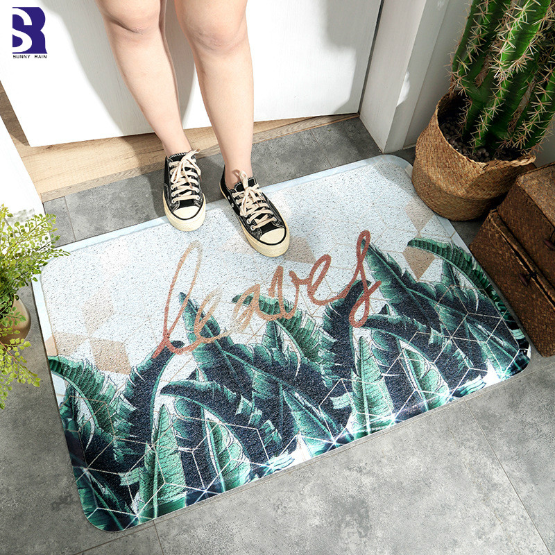 SunnyRain 1 Piece Plants PVC Dedusting Area Rug Non slipping Bathroom Rugs Easy Cleaning Rug and Carpet for Kitchen