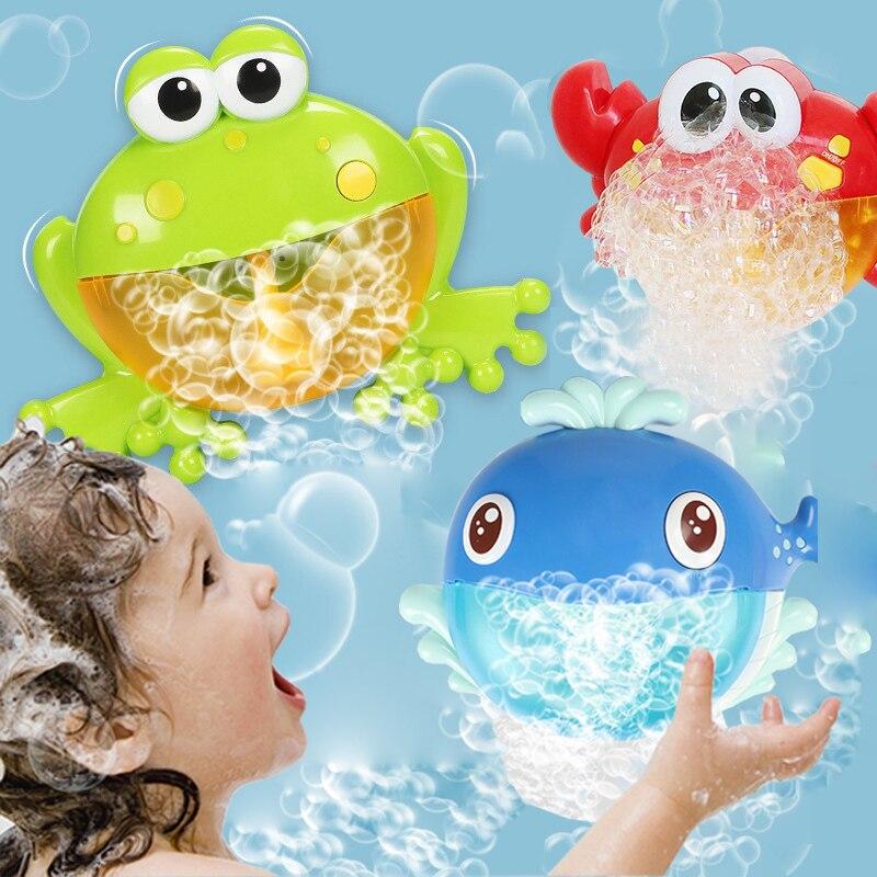 Los niños piscina de agua de juguete de baño del bebé juguetes ranas cangrejo ballena burbuja de ventilador automático con música lavar Baño de juguete para los niños
