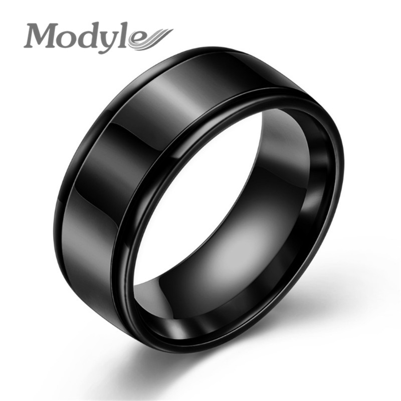 Modyle New Brand Simple Black/Silver Color/Gold Color Stainless Steel Wedding Rings For Men Women Fashion Jewelry Wholesale(China)