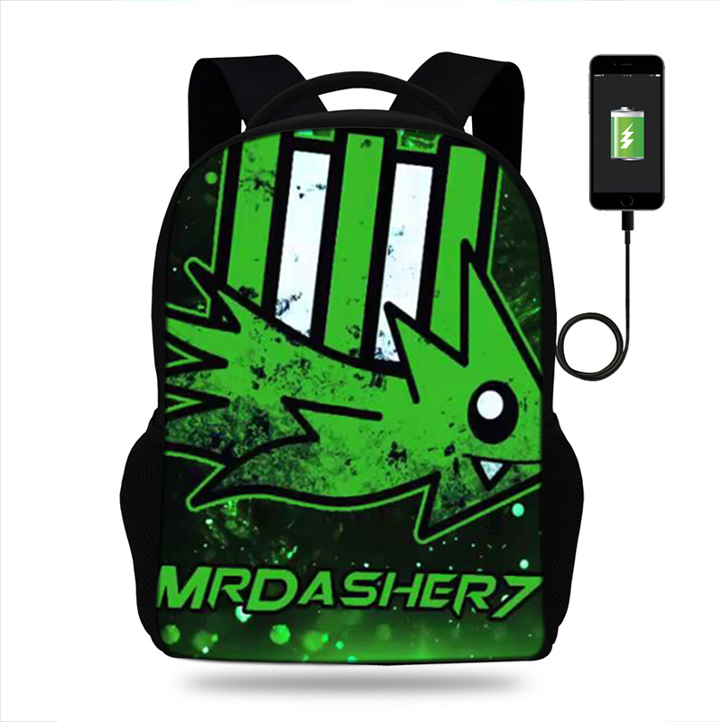 17inch Geometry Dash Game Design Rucksack Daypack School Bag For Boys Girls Student Backpack Casual Laptop Backpack USB Port