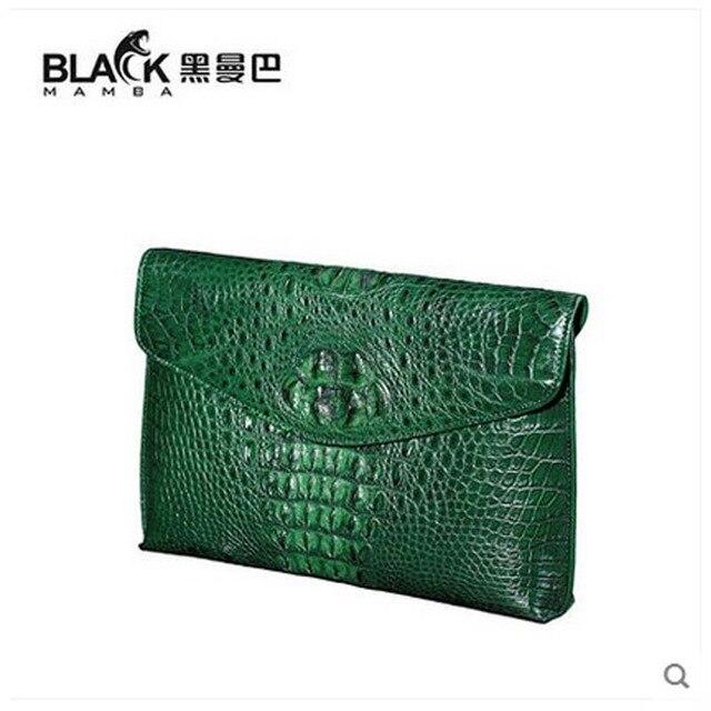Groene Portemonnee.Heimanba Thai Cocodile Lederen Vrouwen Clutch Bag Business