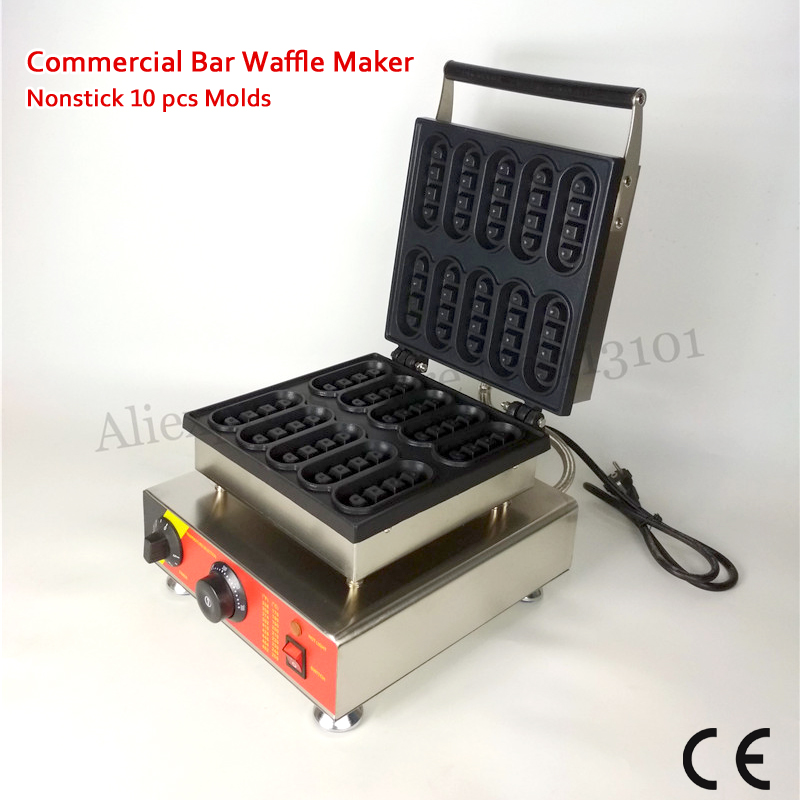 Electric Mini Bar Waffle Machine Nonstick Cooking Surface 10 Molds 1500W 110V 220V Snack Street Food Device