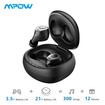 Mpow T3 Bluetooth 5.0 Earphones HD Stereo 24H Playtime Wireless TWS Earphones With Dual Noise Cancelling Microphones For iPhone