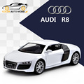 Children Kids Welly AUDI R8 V10 Model Car 1:36 Diecast Metal Alloy Cars Toy Pull Back Gift