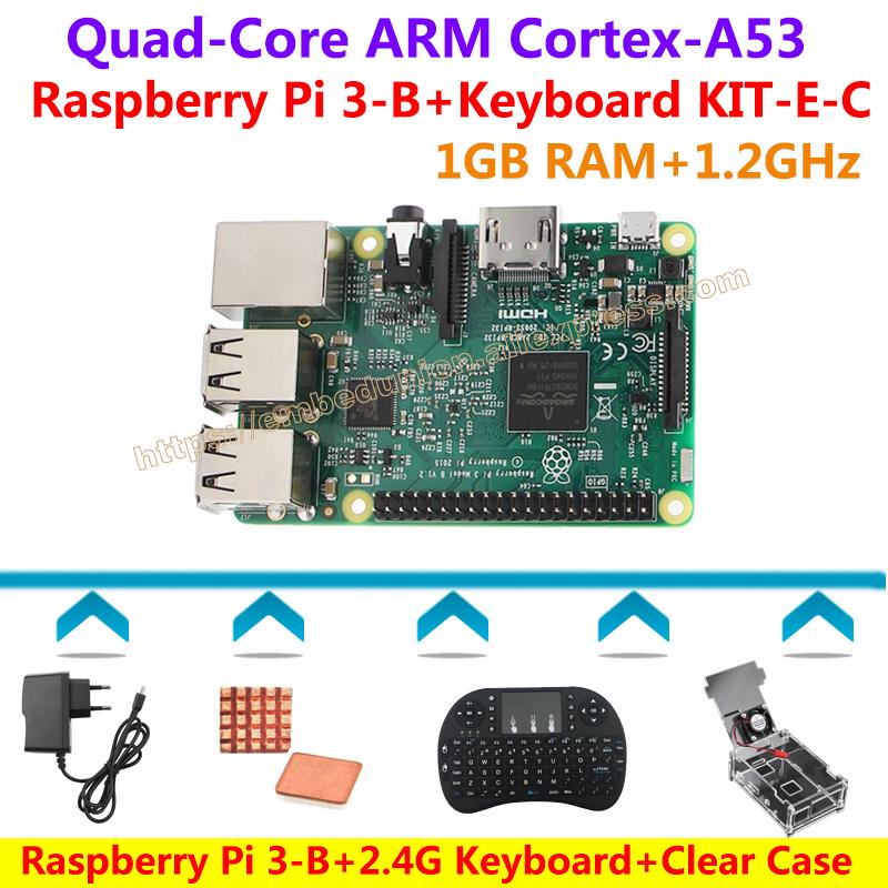Prix pour Raspberry Pi 3 Modèle B (1.2 GHz, 1 GB RAM) + 2.4G Clavier + cas Clair avec Ventilateur + Puissance + dissipateurs De Chaleur = Raspberry Pi 3 modèle B KIT-E-C