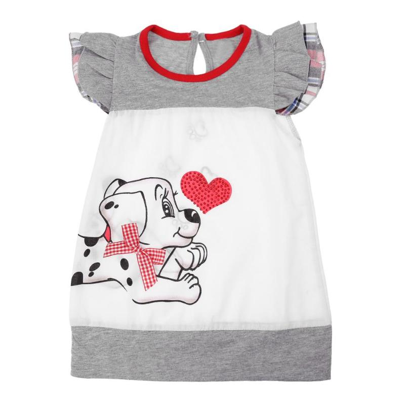 Baby Kids Girls Dress Lovely Cartoon Dog Print O-Neck Short Sleeve Dress Children Kids Baby Girl Casual A-line Dresses New high quality newest 2018 designer fashion runway dress women s short sleeve v neck gorgeous print pleated midi dress