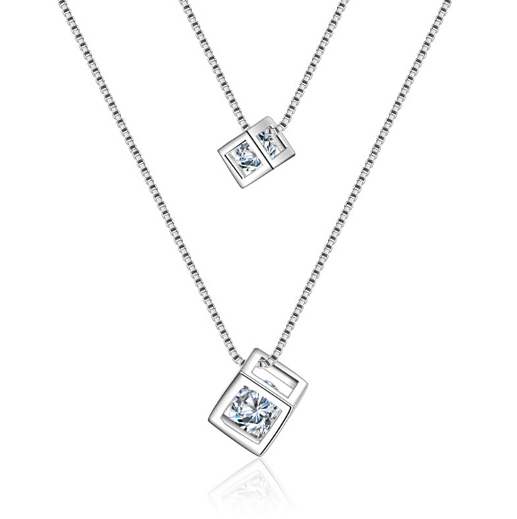 SKN2 925 Sterling Silver Square Cube Rhinestones Choker Statement Necklace Women Double Layer Pendants & Necklaces Jewelry