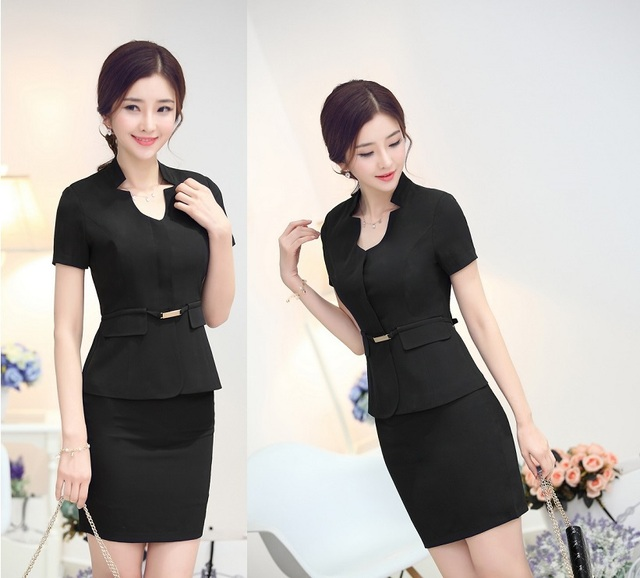 1f43a324d58e 2015 New Summer Female Work Suits Tops And Skirt Ladies Office Uniforms  Design Formal Outfits Sets
