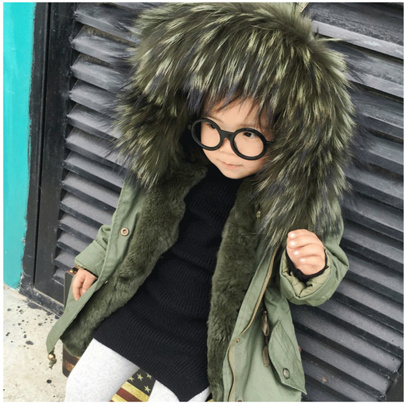 Children's Army Green Coat Raccoon Fur Hooded Coat Parkas Boys Girls Winter Outwear Detachable Lined Green Jacket  Clothing C#15 new army green long raccoon fur collar coat women winter real fox fur liner hooded jacket women bomber parka female ladies fp890