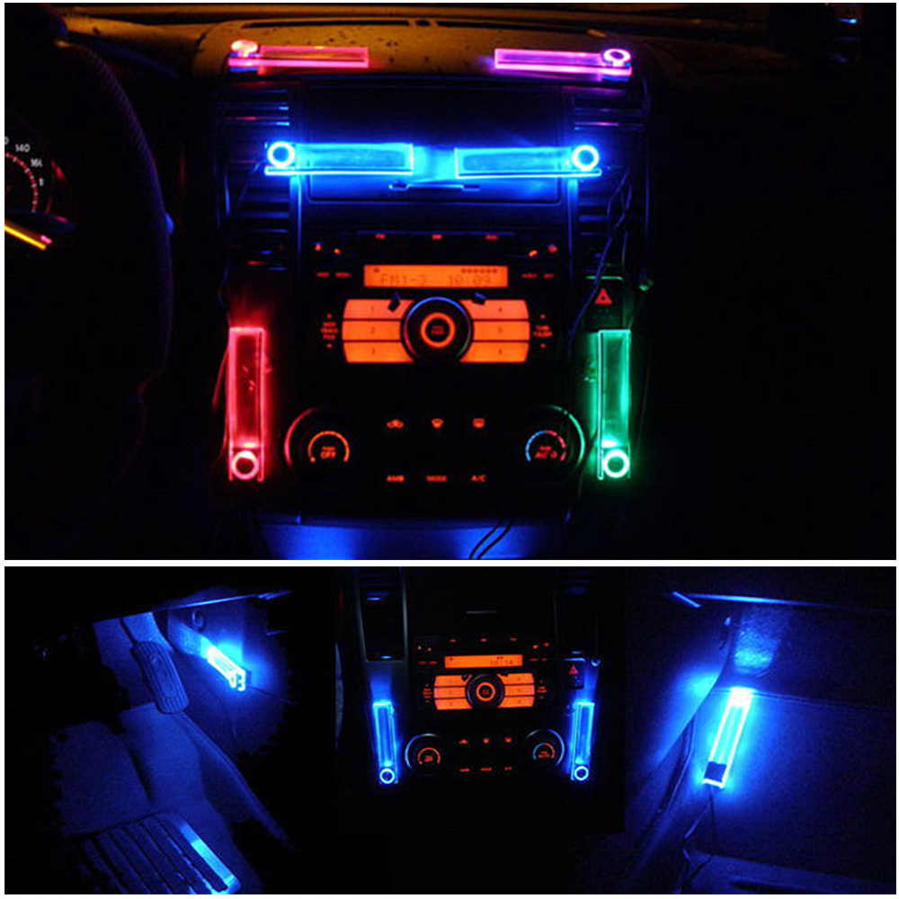 Car Interior Decor Lights On/Off Switch Cigarette Lighter LED Atmosphere Neon Light Lamps 4 in 1