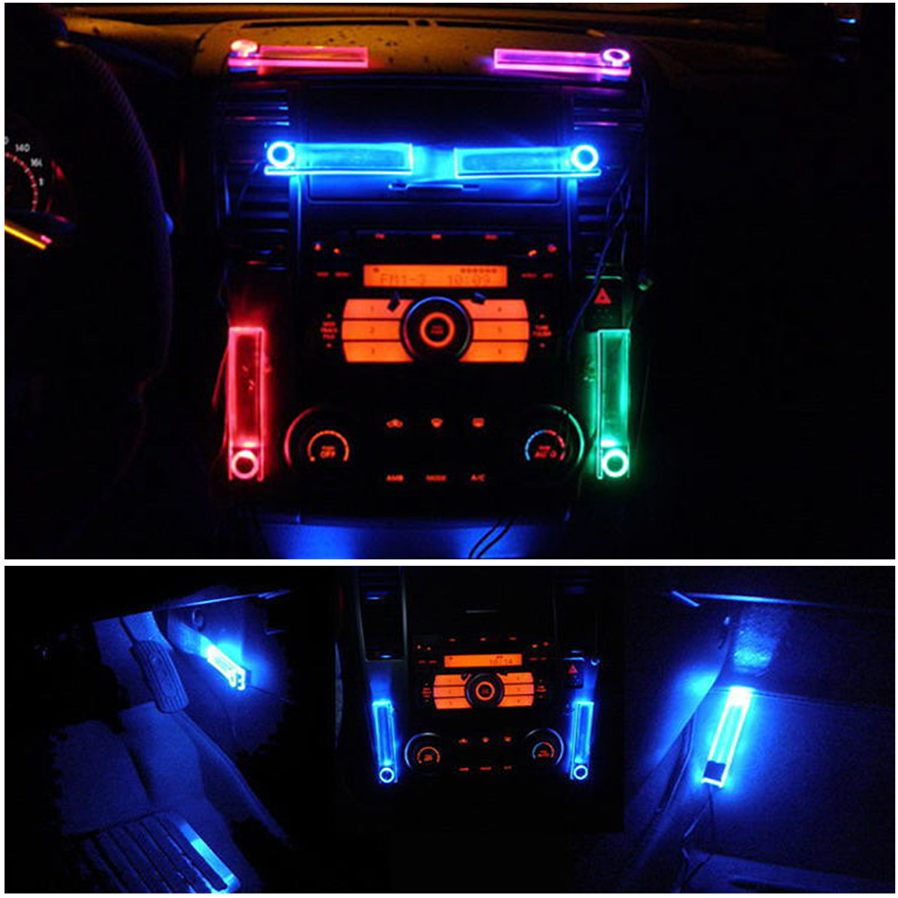 Car Interior Decor Lights On Off Switch Cigarette Lighter Led Atmosphere Neon Light Lamps 4 In 1