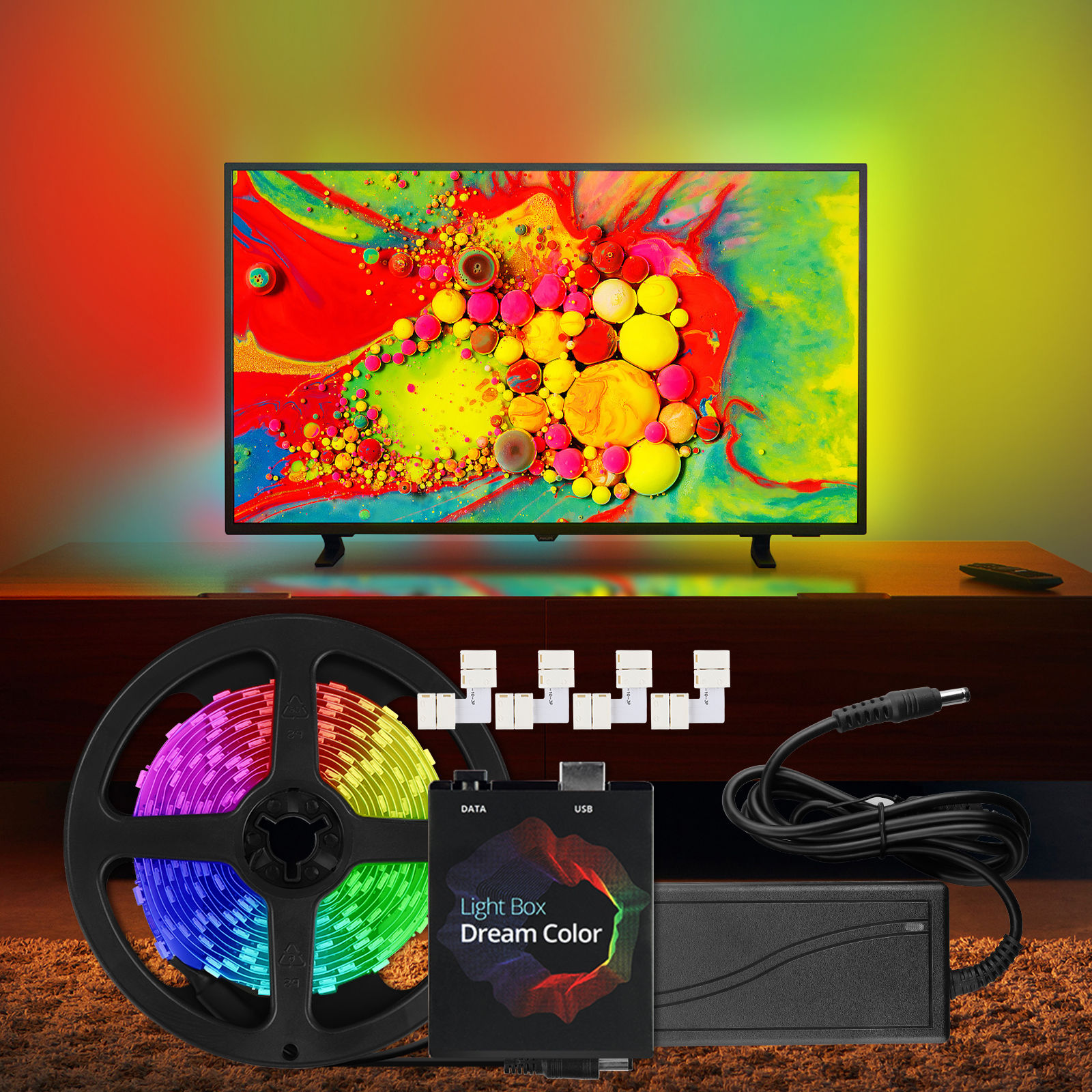 """WS2812b Ambilight RGB USB LED Strip Light with 3 pin """"L"""" Shape Connector Kit for Desktop PC Screen Ambient Lighting 1M - 5M"""