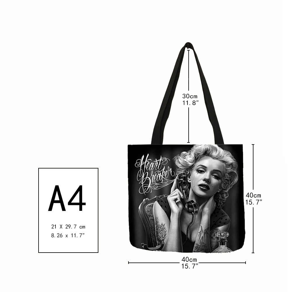 Женская сумка на плечо с принтом в виде черепа Монро, эко-Льняная Повседневная сумка для девушек, многофункциональные сумки, 2018