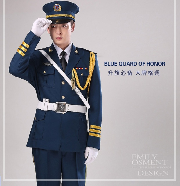 Unisex Blue China guard hornist art costumes Flag raising ceremony suit  Military Uniform-Guard Suit Army drummer clothing 7001ad33301