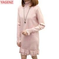 YAGENZ Büyük boy Kadın Örgü Triko Elbise Sonbahar Kış Uzun Elbise Yüksek yaka Gevşek Dantel Dikiş Kazaklar Kazak Elbise 775